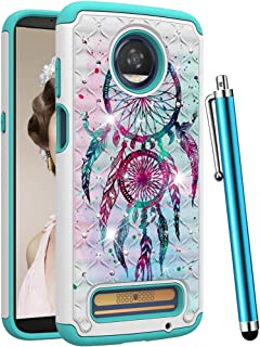 CAIYUNL for Moto Z3 Case,Moto Z3 Play Case,Dual Layer Shockproof Protective Phone Case Hard PC&TPU Women Men Bling Glitter Sparkle Studded Rhinestone Cover for Motorola Moto Z3-Colourful Aeolian bells