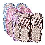 4 pares de zapatos de pie a rayas unisex para el suelo, limpieza lavable, zapatillas de fregona perezosas, pulido rápido, polvo para el hogar, lana de Coral