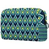 Bolsa de cosméticos de viaje grande para mujer – Neceser de viaje y maquillaje cosmético bolsa con muchos bolsillos verde pavo real 18,5 x 7,5 x 13 cm
