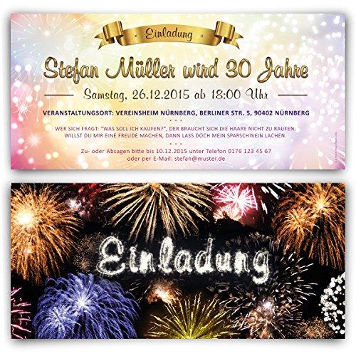 Einladungen (30 Stück) Feuerwerk Silvester Winter Geburtstag Einladungskarten