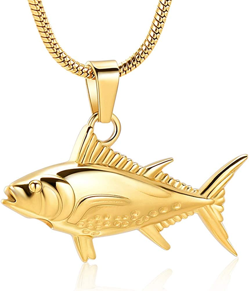 Imrsanl Cremation Jewelry for Ashes Fish Urns Necklace Memorial Keepsake Jewelry Ashes Pendant for Pets/Human
