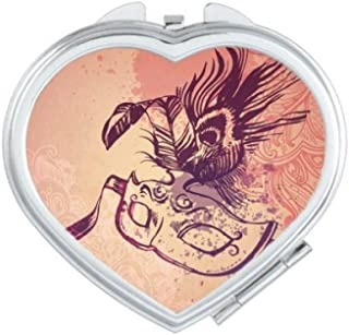 DIYthinker Watercolor Mask Happy Carnival Of Venice Heart Compact Makeup Mirror Portable Cute Hand Pocket Mirrors Multicolor