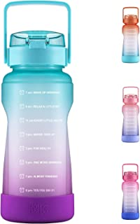 BOTTLE BOTTLE Half Gallon/64 oz Water Bottle with Straw Big Handle Protective Silicone Boot Sports Water Bottle with Time Marker Leak Proof Reusable Water Jug for Adult and Kids (Green Purple)