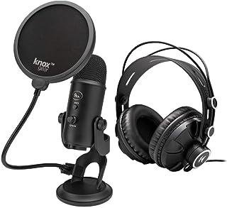 حزمة ميكروفون يو إس بي من بلو ييتي (بلاكت) مع سماعات الرأس من نوكس جير وفلتر بوب (3 عناصر)