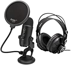Blue Yeti USB Microphone (Blackout) Bundle with Knox Gear Headphones and Pop Filter (3 Items)