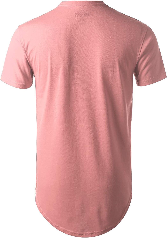URBANCREWS Mens Hipster Hip Hop Basic Longline Crewneck T-Shirt w/Zipper Trim