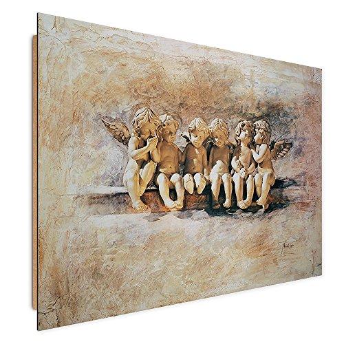 Feeby. Tableau Panneau Decoration Murale ANGES Deco Panel, Taille: 80x60 cm, RELIGION VINTAGE MARRON