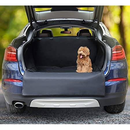 Fluffy's Oxford Luxurious Waterproof Car Trunk Cover Dog Seat Hammock with Side Protection, Black, 550 g