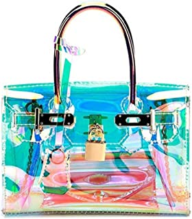 Women's Holographic Transparent Tote Bag Handbag Clear Chain Shoulder Bag
