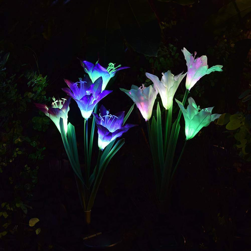 Luces de flor solares, 7 colores cambiantes de luz solar, 4 luces LED de lirio para el hogar, jardín, camino, fiesta, paisaje decorativo, luces LED de lirios, 2 paquetes: Amazon.es: Hogar