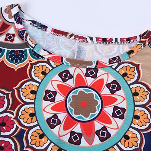 VEMOW Vestido mujer Mujeres verano manga corta floral bolsillos impresos vestido de oscilación ocasional de Sundress(B Armada,XL)