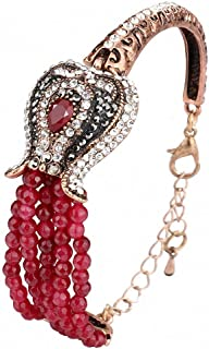 Womens Luxury Red Natural Stone Bracelet Vintage Antique Gold Color Crystal Bracelets for Women Turkish Jewelry