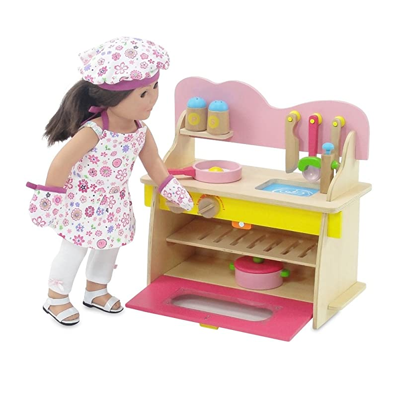 軽食降下旧正月18-inch Doll Furniture | Pink Multicolored Wooden Kitchen Set with Oven, Stove, Sink and Awesome Accessories | Fits