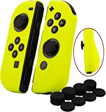 YoRHa Hand grip Silicone Cover Skin Case x 2 for Switch/NS/NX Joy-Con controller (yellow) With Joy-Con thumb grips x 8