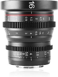 Meike - Grandangolare, obiettivo Prime Cinema fisso, messa a fuoco manuale, 16 mm, T2.2, per videocamere/fotocamere tascab...