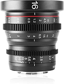 Meike 16mm T2.2 Manual Focus Wide Angle Fixed Prime Cinema Lens for M43 Micro Four Thirds MFT Mount Cameras and Cinema Cam...