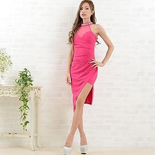 ドレス レディースワンピース キャバドレス ミニドレス セール目玉商品 レターパック発送で送料無料 ネックビジューパールセクシーアシンメトリードレス