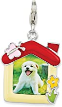 925 Sterling Silver Rh Enameled Pet Picture Frame Lobster Clasp Pendant Charm Necklace Photo Fine Jewelry For Women