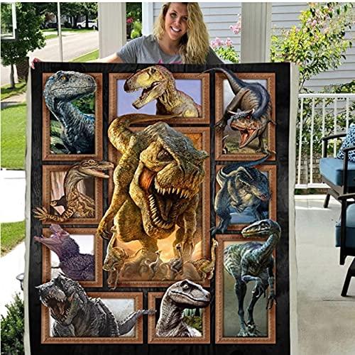 Manta de forro polar con impresión en 3D de Sherpa con diseño de animales de dinosaurio, 150 x 200 cm