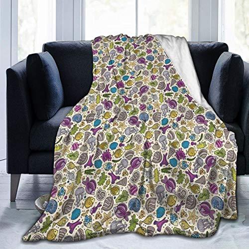 Manta mullida, colorida submarina criaturas marinas, tubo de peces, musgo, imagen de círculos dibujados a mano, ultra suave, manta para dormitorio, cama, TV, manta para cama de 127 x 101 cm