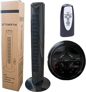 Wessper Ventilateur Colonne avec Télécommande, 3 Vitesses, 50W, Hauteur 77cm (Noir)