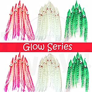 "Fish WOW! 30pcs 5"" Squid Skirt Crinkle Hoochies 13cm Octopus Fishing Soft Salmon Lure - Glow, Glow Seaweed, Glow with Pink Stripes"