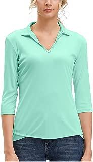 Women's Moisture Wicking Golf Polo Shirt 3/4 Sleeve Dry Fit