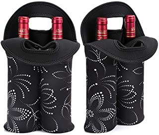 Hipiwe 2-Bottle Wine Bottle Tote Insulated Neoprene Wine Cooler Bag Champagne Water Beer Drinks Bottle Protective Carriers Bag Case for Travel,Dating,Party,Camping (2PCS Black with Flower Pattern)