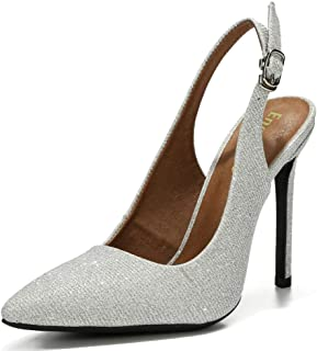 Enelauge Womens Chic Pointed Toe Slingback High Heels Stiletto Slip on Dress Pumps Shoes