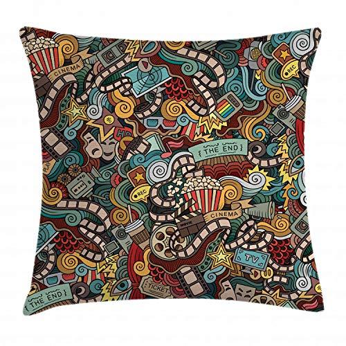 ABAKUHAUS Hipster Funda para Almohada, Los Productos de Cine de Palomitas de maíz, Material Lavable con Cremallera Colores No Destiñen, 40 x 40 cm, Multicolor