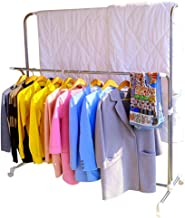 Hershii Rolling Clothes Drying Rack Expandable Metal Double Rail Heavy Duty Laundry Garment Hanger Stand Adjustable for In...