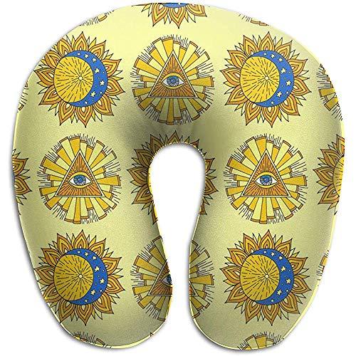 Forma De U Almohada,Yellow Sun Planet Almohada Oculta Lavable Oculta Esotérica para...