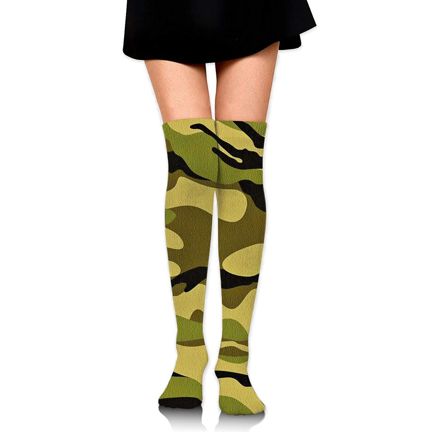 MKLOS 通気性 圧縮ソックス Breathable Classic Warmer Tube Leg Stockings Army Camouflage 3D Camo Print Exotic Psychedelic Print Compression High Tube Thigh Boot Stockings Knee High Women Girl