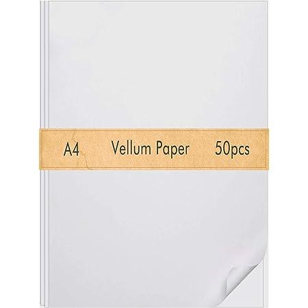 Cridoz 50 Pack Transparent Vellum Paper 8.5 x 11 Inches Translucent with Vellum Invitation Envelopes Vellum Paper Printable Clear Paper for Inkjet Laser Printing Tracing Wedding Invitations