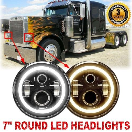 H6024 DOT Round LED Headlights For Peterbilt 379 (1988 to 2009) 359 (1981 to 1987), 2PCS 7 Inch Super Bright High Low DRL Beam 6000K White Conversion Kit