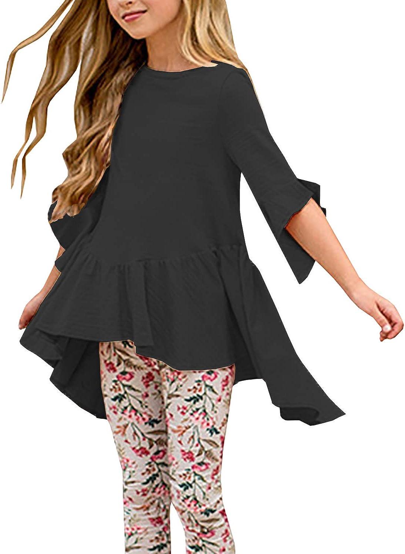 Caitefaso Girls Cute Shirts Purchase Summer Fall Tunic 4 Sl 3 Ruffle Jacksonville Mall Tops