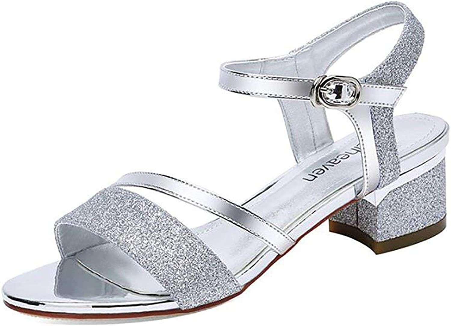 Comfortable and beautiful ladies sandals Word Buckle Strap Sandals New Wild Ladies in Heel shoes.