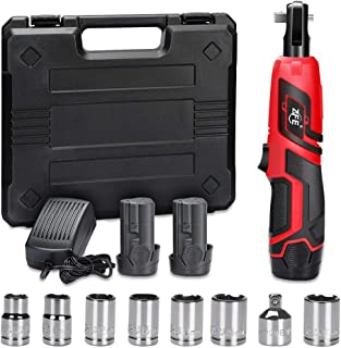 ZFE 3/8 Inch Cordless Electric Ratchet Wrench, 12V Power Ratchet Wrenches Set with 2pcs 2000mAh Lithium-Ion Battery and 1pc Fast Charger, 7pcs Metric Socket and 1pc 1/4 Inch Socket Adapter