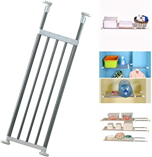 BAOYOUNI Expandable Closet Tension Shelf Rod Organizer Adjustable Storage Rack Heavy Duty Clothes Hanger Metal Space Saving Divider for Bathroom Kitchen Cupboard Wardrobe Bookshelf 32''-46'', Ivory
