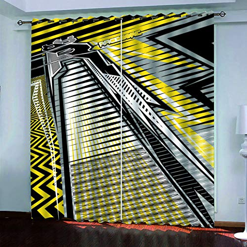YUNSW 3D Geometric Abstract Painting Curtains, Blackout Curtains For Living Room, Bedroom, Kitchen And Garden, Two-Piece Perforated Curtains