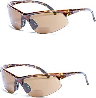 2 Pair of Unisex Bifocal Sport Wrap Sunglasses - Outdoor Reading Sunglasses