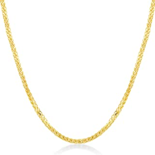 Gelin 14k Real Gold 1.0 mm Four Sided Chain for Women and Men, 18 inch
