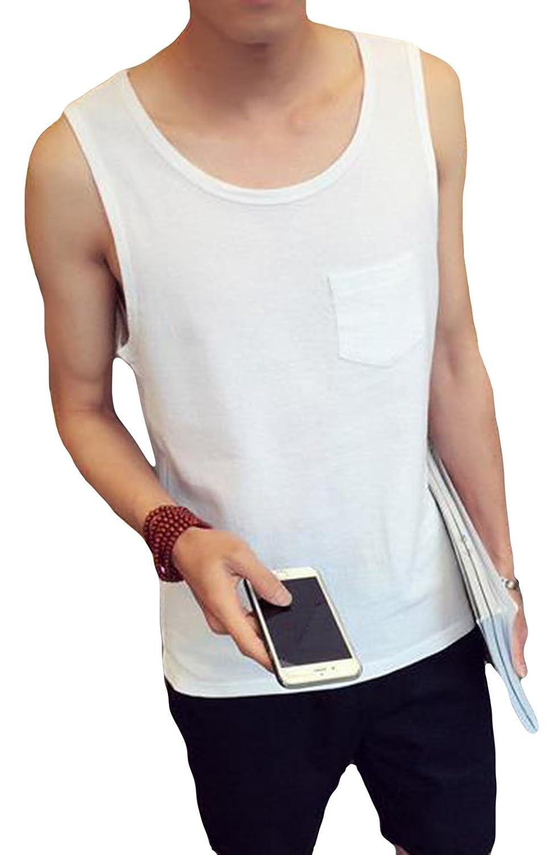 DeBangNi タンクトップ ベスト メンズ 夏 薄手 服 tシャツ ノースリーブ 無地 通気 快適 吸汗 ルームウェア トップス 丸首 ゆったり 大きいサイズ カジュアル おしゃれ 部屋着