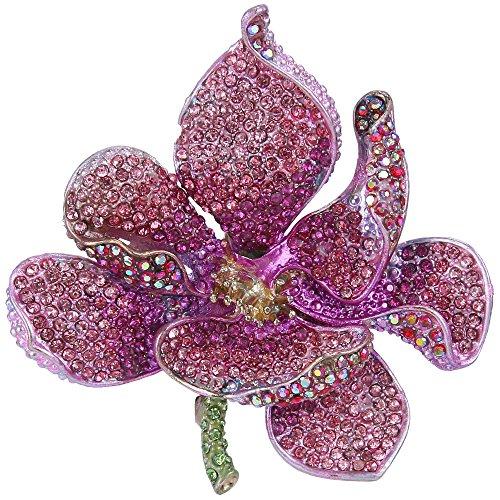 EVER FAITH Broche para Mujer Cristal Austríaco Flor Orquídea Pétalo Rosado Tono Dorado