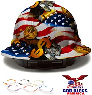 Full Brim Pyramex Hard Hat, Hydrodipped American Flag Money Design Safety Helmet 4pt + 6 Pairs Safety Glasses + American Flag Decal, by AcerPal