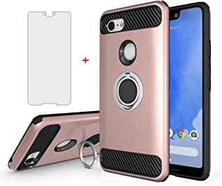 Google Pixel 3 XL Phone Case with Tempered Glass Screen Protector Ring Holder Magnetic Car Mount Stand Kickstand Accessories Slim Hard Heavy Duty Protective Cover for Pixel3 3XL Pixle Women Girls
