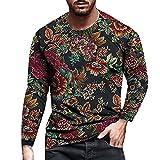 ERNUMK Camiseta básica de manga larga para hombre, camiseta de manga larga para senderismo, correr, camiseta de entrenamiento moderna con estampado de flores, A-negro., XXL