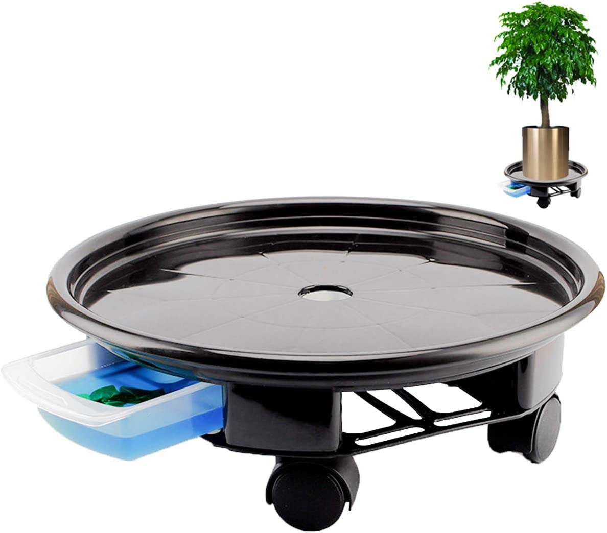 17.7inch Black Plant Caddy With Plan Water Max 49% OFF Heavy 2021 spring and summer new Duty Container