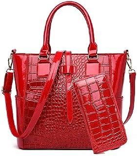 angelHJQ Tote Umhängetasche, Satchel Handtasche für Frauen Set PU-Leder-Top-Griff-Geldbörse, (braun, schwarz, rot) (Farbe:...