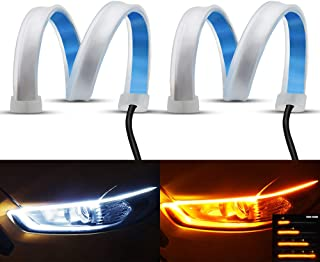 YEERON Flexible LED Light Strip 2Pcs 24 Inches Dual Color LED Headlight Surface Strip Light White Daytime Running Light an...